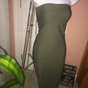 Misguided Olive Strapless Bandage Dress.